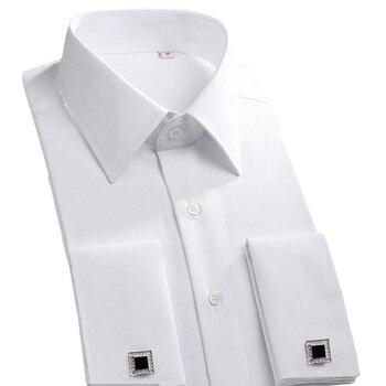 0bb24d34487 2018 Новый французский манжеты кнопка для мужчин Мужская классическая  рубашка Классический с длинным рукавом Марка Формальные бизнес модные.