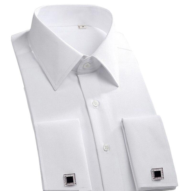 2019 Novo Botão Cuff Francês Dos Homens Camisas de Vestido Clássico Marca Smoking Formal do Negócio de Manga Longa Camisas camisa masculina Abotoaduras