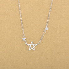 Fashion Women Silver Collar Necklaces 925 Sterling Silver Triple Crystal Star Pendant Necklaces Jewelry 925 sterling silver high quality necklace jewelry strawberry crystal rabbit pendant necklaces crystal beads fashion necklaces