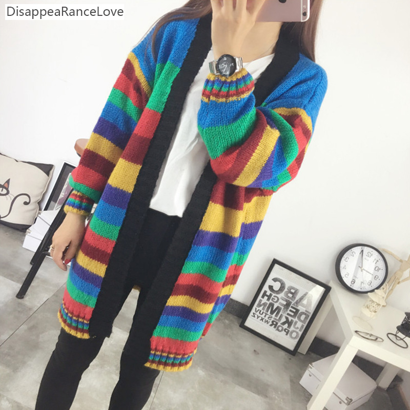 Multicolour 2018 DRL Autumn Winter Fashion Women Long Sleeve loose Cardigan Knitting Sweater Womens Knitted Cardigan Female