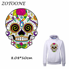 ZOTOONE Flower Skull Patches Iron for Clothing Beaded Applique Clothes T Shirt Heat Transfer DIY Accessory Decoration C