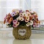 Wickerwork Round Basket Rattan Foldable Hanging Flower Pot Planter Woven Garden Flowerpot Holder Storage Basket Home Decor