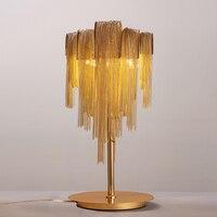 Aluminum Chain Table Lamp E14 Led Bulb Table Light Silver Gold Desk Lamp Bedroom Living room Hotel Lustre Table Lighting C024