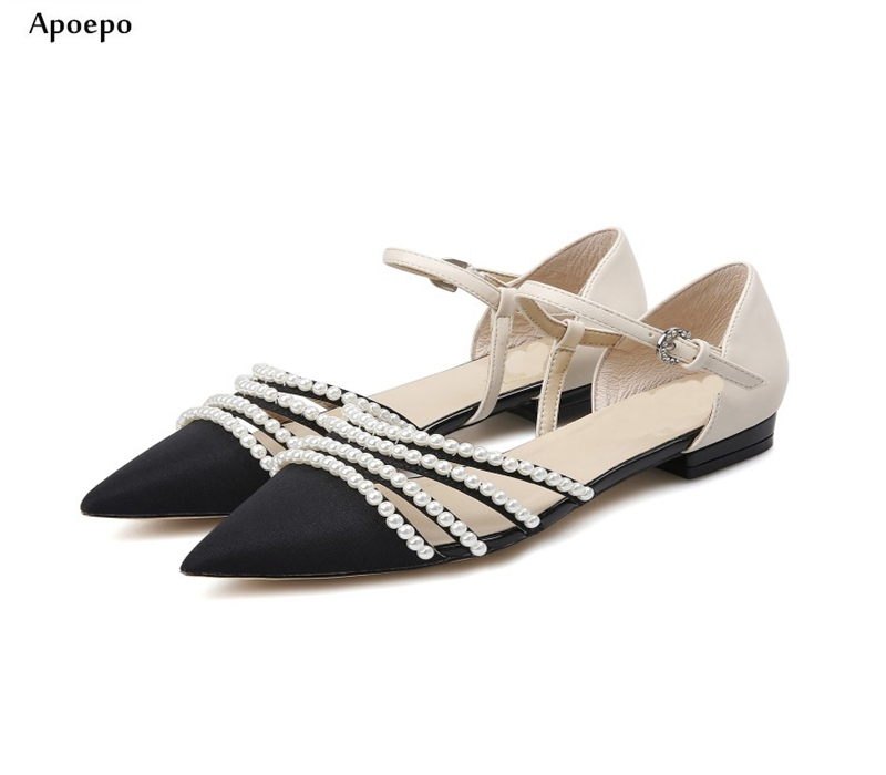 Apopeo Bohemia Style Pearls Beaded Flat Sandal for Woman 2018 Summer Sexy Pointed Toe Buckle Strap Shos Mixed Colors Sandal браслеты bohemia style браслет