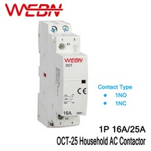 цена на OCT Series 1P 16A/25A AC Household Contactor 230V 50/60Hz Contact 1NC/1NO One Normal Close or Normal Open  Din Rail Contactor