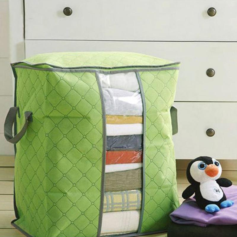 Clothing Bag Bamboo Charcoal Clothes Bedding Duvet Zipped Pillows Non Woven Storage Bag Dust Proof Quilt Organizer