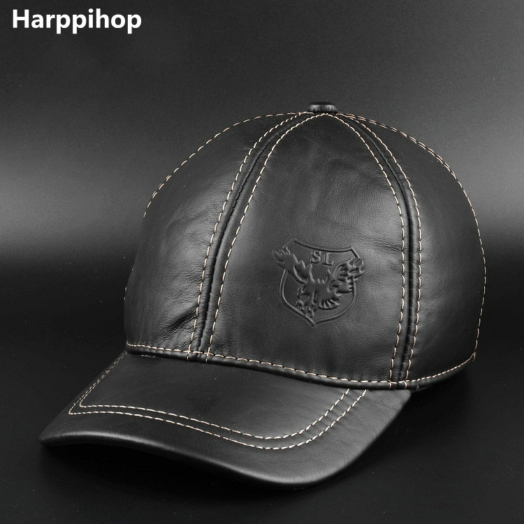 цены  2017 New Winter Hats with Ear Flaps Men's Genuine Leather Baseball Caps Men 's hat