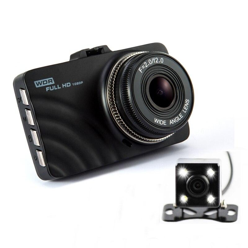 Double objectif voiture DVR tableau de bord caméra Full HD 1080 P 3.