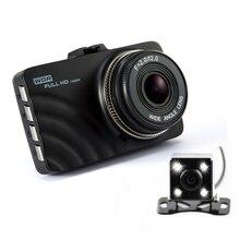 "Big discount Dual Lens Car DVR Dashboard Camera Full HD 1080P 3.""LCD Video Registrator Recorder With 4 LED Backup Rearview Camera Dash Cam"