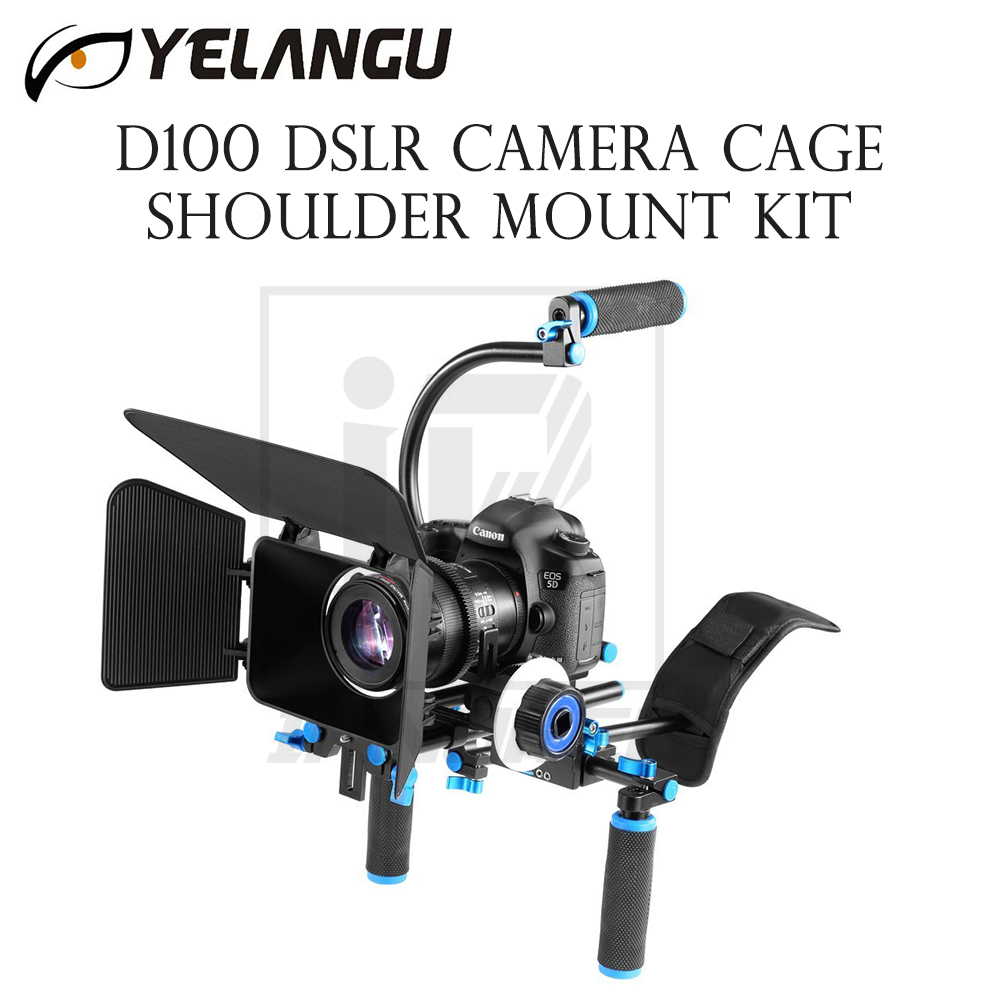 YELANGU D100 DSLR Camera Rig Cage Shoulder Mount Kit Stabilizer Movie Film Support Follow Focus Matte Box C Shape handheld tube yelangu professional handheld shoulder mount dslr video camera stabilizer support system kit matte box follow focus c shape tubo