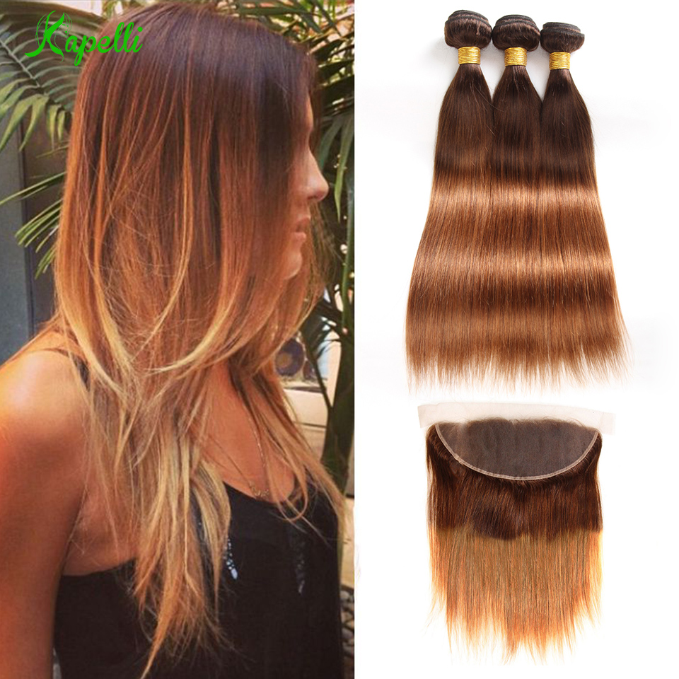 Ombre Straight Hair Bundles With Frontal T4/30 Ombre Indian Hair Weave Bundles With Closure Blond Human Hair Bundles Remy Hair