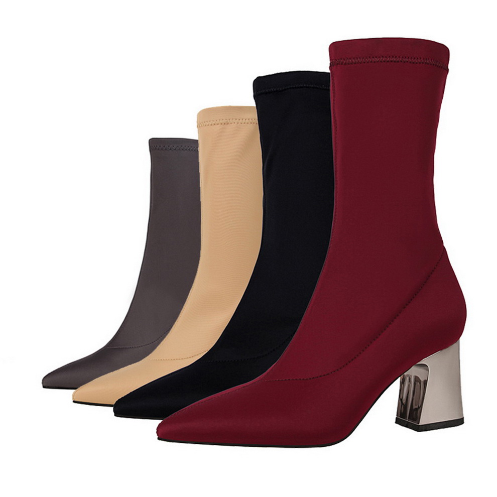 Metálico Tacón Zapatos Media Boots Sexy Pantorrilla Alto Botas Henlu} winered {d Mujeres Khaki amp; 2018 Boots Elástico Las black De gray Calcetines Mujer Boots Boots 8OzFSfawq