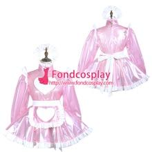 Sissy maid clair pvc robe verrouillable uniforme cosplay costume sur mesure [G3717]