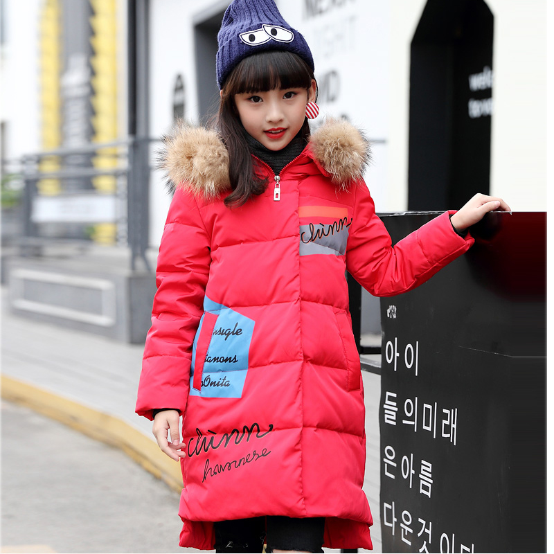 6Y-15Y Girl Winter Jackets 2017 New Fashion Big Girls Jacket Warm Thick Fur Collar Hooded Long Down Jacket Coats 2017 new winter cotton coat women long loose thick warm jacket fashion hooded fur collar female big pocket parkas