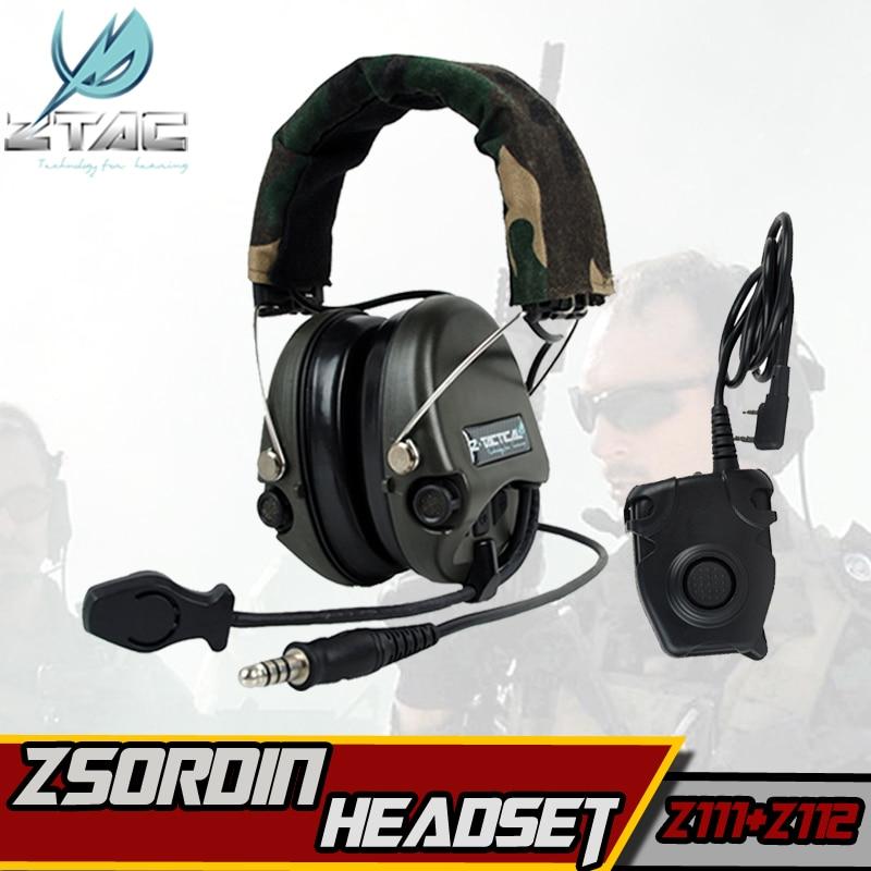 Z TAC Softair Sordin Tatical Militaire Casque Z112 PTT Midland kenwood Tactique Écouteurs Pour Tir Arsoft Actif Casque