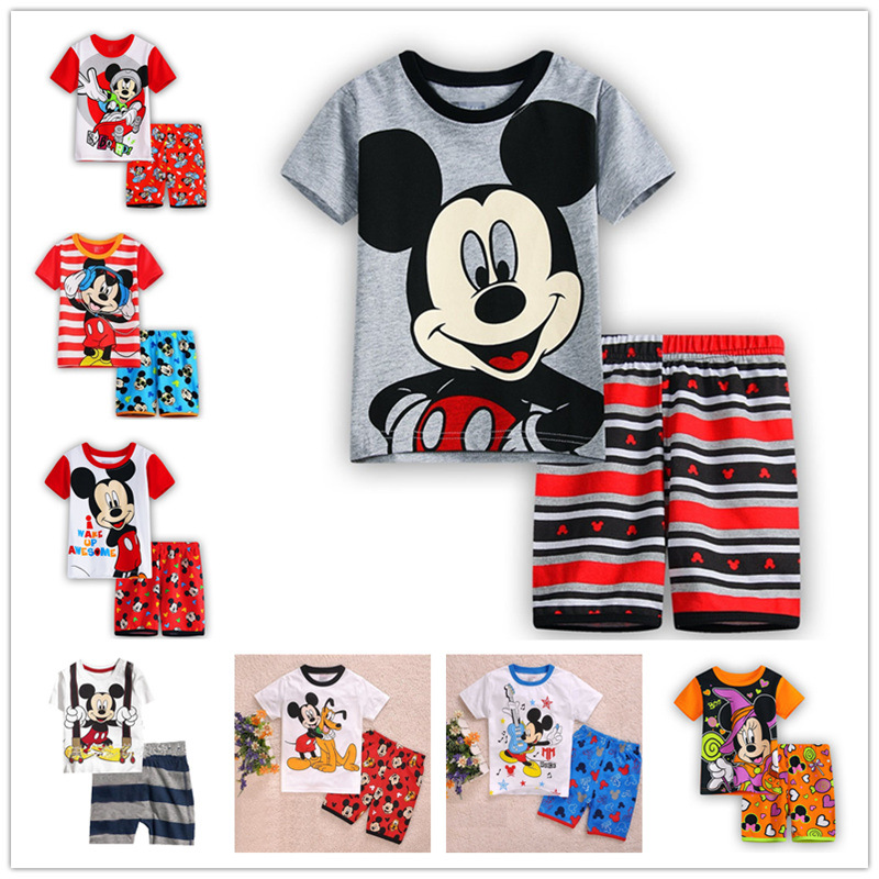 boy clothing sets new kids home furnishing cotton short sleeved summer cartoon mouse pajamas suit for boys