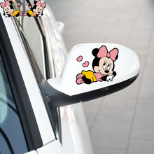 Minnie Car Accessories Cartoon Car Rearview Mirror Sticker Funny Tail Decal for Volkswagen Polo Skoda Golf Renault Opel Bmw Kia