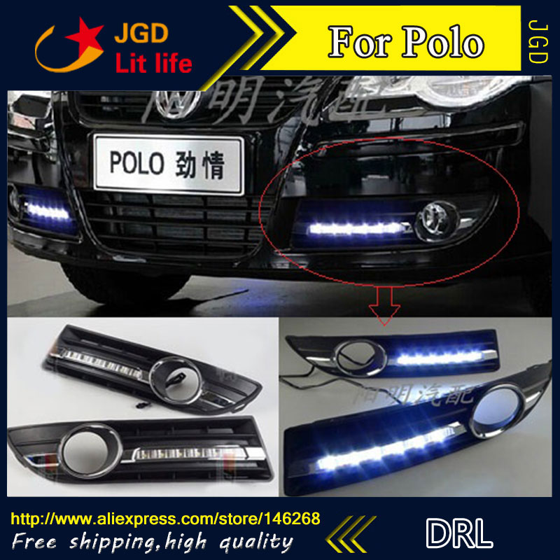 Free shipping ! 12V 6000k LED DRL Daytime running light for VW Volkswagen polo 2005-2010 fog lamp frame Fog light