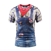 Mr 1991INC Fashion 3d T Shirt Men Women Summer Tops Tees Print Fake Plaid Shirts Jeans