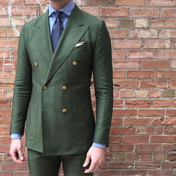 2017 Double Breasted olive Green Men wedding Suit Terno Slim Fit 2 Pieces Fashion Party groom Tuxedo Mens Work Wear Suits Blazer
