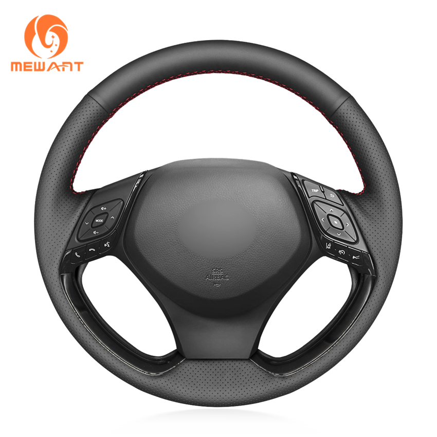 MEWANT Black Genuine Leather With Holes Car Steering Wheel Wrap Cover for Toyota C-HR CHR 2016-2019(China)