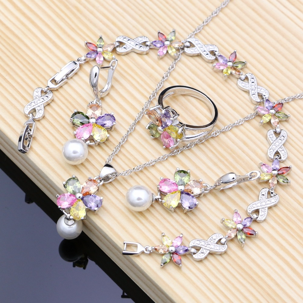 Blume Multicolor Zirkon Weiß Perlen 925 Silber Schmuck Sets Für Frauen Hochzeit Ohrringe/Anhänger/Ring/Armband/ halskette Set