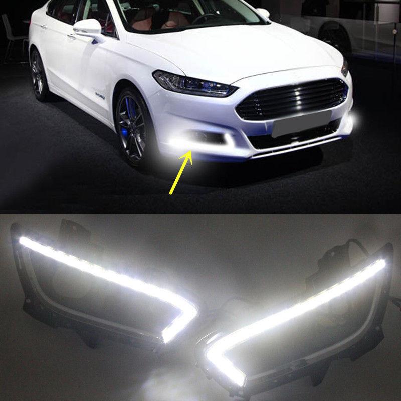 DRL Led daytime running light fog lamp for Ford Mondeo Fusion 2013 2014 2015 eonstime 2pcs 12v car drl led daytime running light fog lights for ford mondeo fusion 2013 2014 2015 2016 car styling