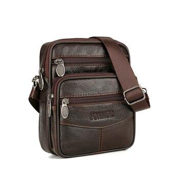 Bolsos de cuero Vintage para hombre, de cuero bolso cruzado genuino, bolso Casual de un solo hombro, bolsos de mensajero para hombre pequeños