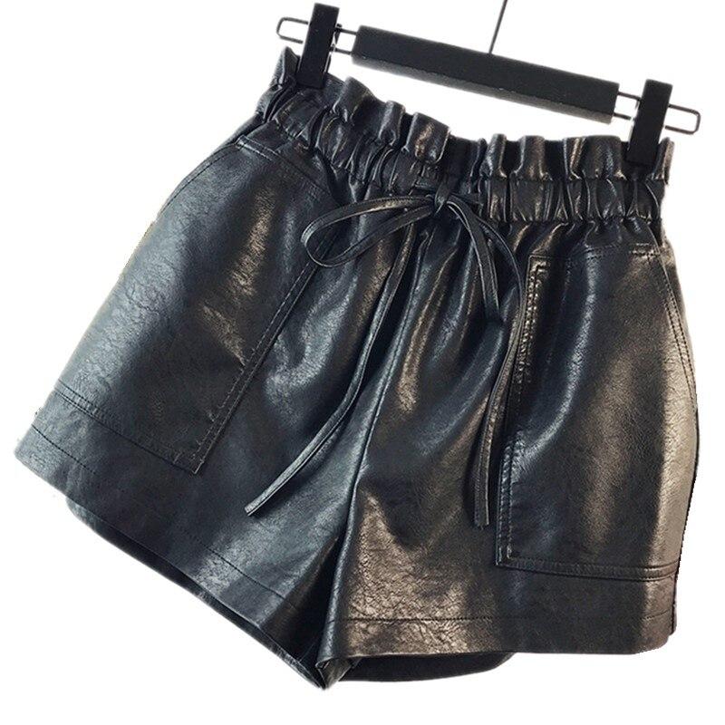 GIRL PU SKORT WOMEN   SHORTS   leather female high waist wide leg loose large boots elastic waist A word leather wear BLACK S-4XL