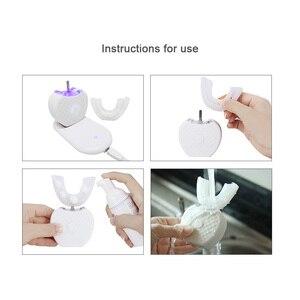Image 5 - Akıllı 360 ° akıllı otomatik Sonic elektrikli diş fırçası USB şarj U tipi diş fırçası diş beyazlatma mavi işık yetişkinler için