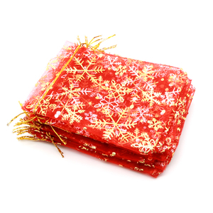 Image 4 - 50pcs/lot White Organza Bags 7x9 10x14 13x18cm Wedding Christmas Candy Gifts Packaging Bags Snowflake Drawstring Pouch Gift Bag