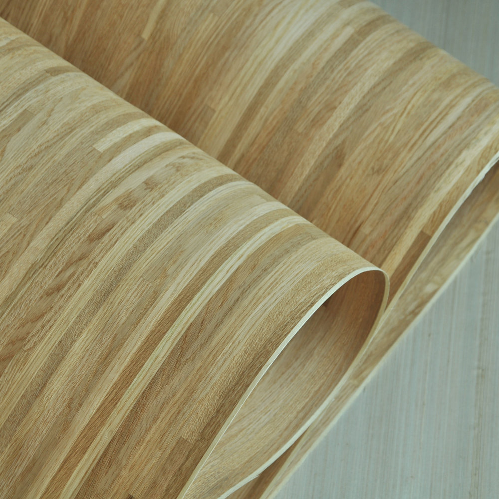 Natural Parquet Wood Veneer Russian Oak Veneer Cross Cut With Fleece Backer