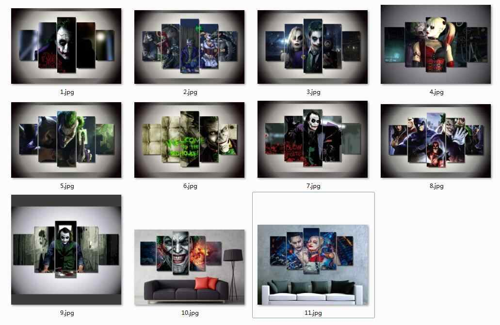 Multiple choices 5 Pieces Joker And Harley Quinn Picture Painting By Numbers Wall Art Room Decor Canvas g010814