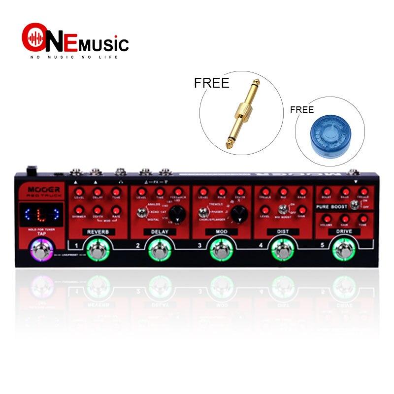 Pédale d'effet d'overdrive combinée de camion rouge de MOOER avec la pédale d'accordeur de guitare de précision