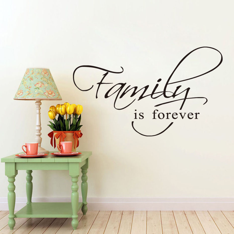 Home Decor Removable Wallpaper For Living Room Family Is Forever Vinyl Wall Sticker Art Mural Decals For Bedroom Goods Wholesale