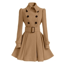 Woman Autumn Winter Coat Casual Khaki Long Woolen Warm Blend Coats and Jackets Slim Solid Double Breasted Long Coat with Belt casual polo neck faux fur collar long sleeves double breasted big hem woolen blend women s coat