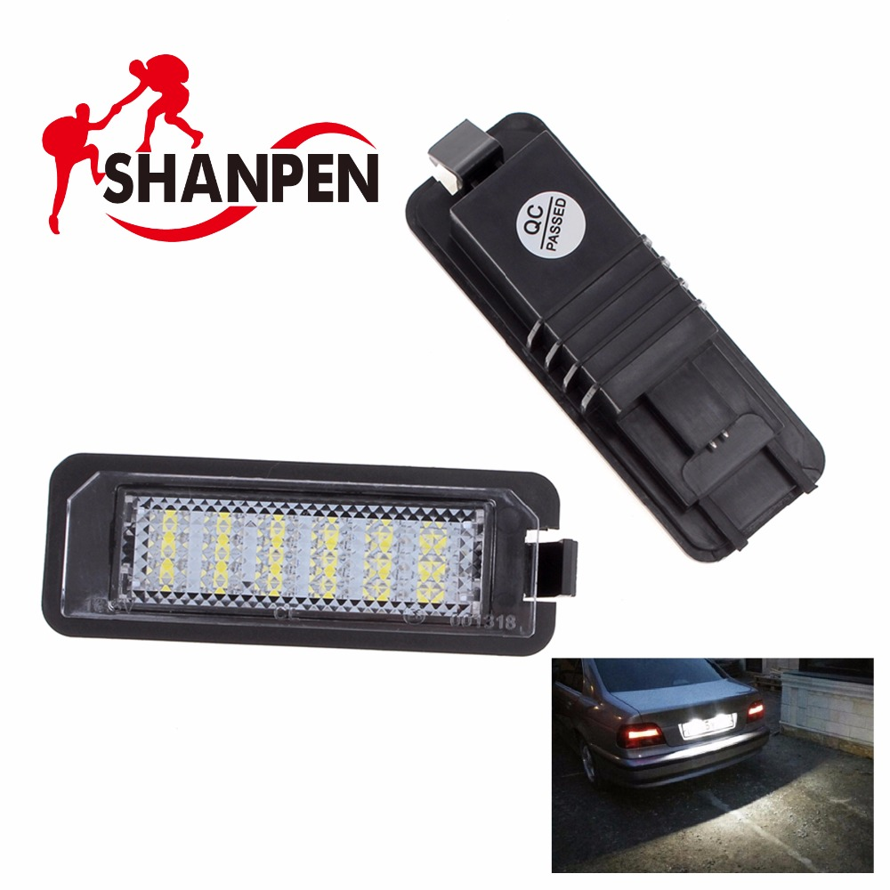 2pcs Car led License Plate Light for VW Golf GTI 4 5 6 / Passat / Scirocco / Beetle 12V SMD3528 no error car led license plate light number plate lamp bulb for vw touran passat b6 b5 5 t5 jetta caddy golf plus skoda superb