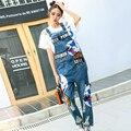2017 nova primavera marca tide personalidade de metal remendo buraco denim calças jeans femininas soltas calças maré macacão