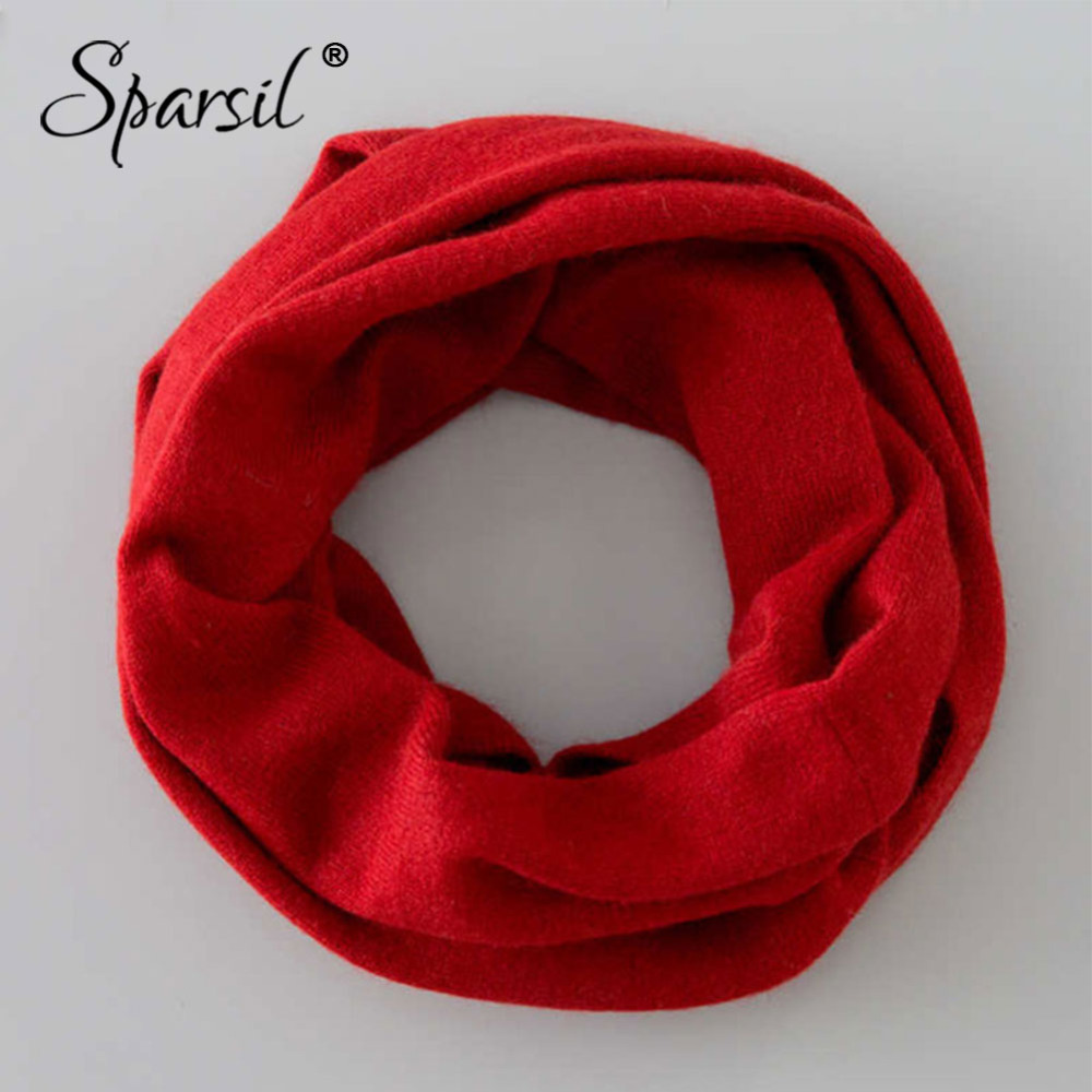 Sparsil Women Spring O Ring Cashmere   Scarves   Neck Circle Knitted Wool   Wrap   Autumn Winter Solid Color Soft Warm Loop Collar Girl