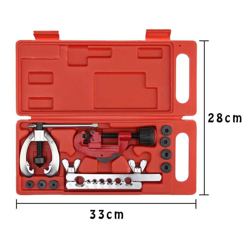 10pc Pipe Flaring Kit Brake Fuel Pipe Repair Flaring Tool Set Tube Cutter