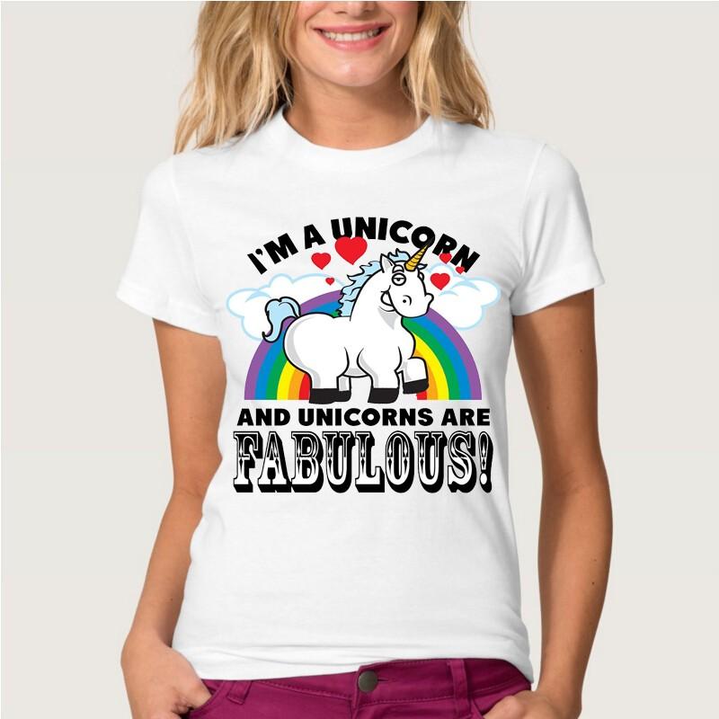 HTB1RDC1MVXXXXacapXXq6xXFXXXs - Newest Funny Unicorn Rainbows T Shirt Womens Fashion