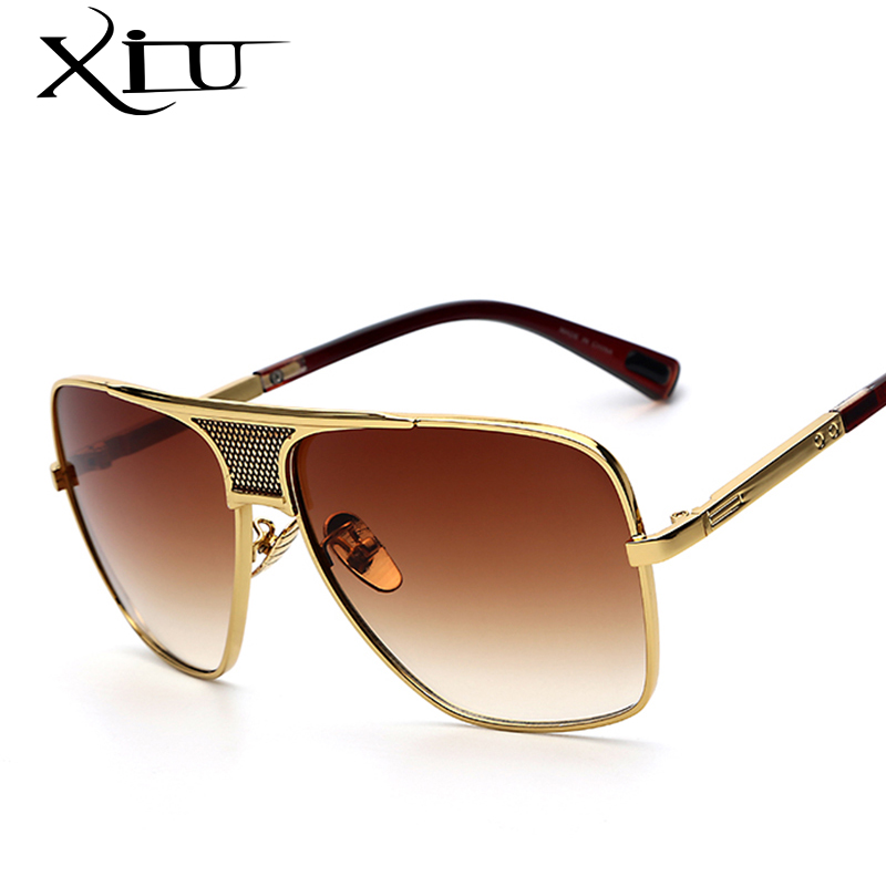 Oversized Gold Frame Sunglasses : XIU Mens Sunglasses Newest Vintage Oversized Frame Goggle ...