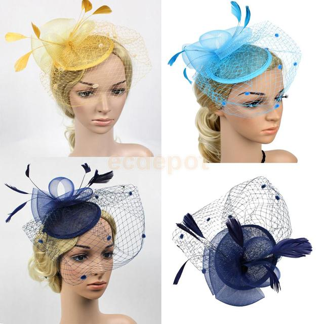 Vintage Hair Cord Feather Fascinator 1920s Great Gatsby Charleston Party  Fancy Hat 81c7fa7dd0f