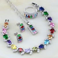 Multicolor 925 Sterling Silver Jewelry Set Mystic Created Topaz Jewelry Sets For Women Necklace Earrings Bracelet