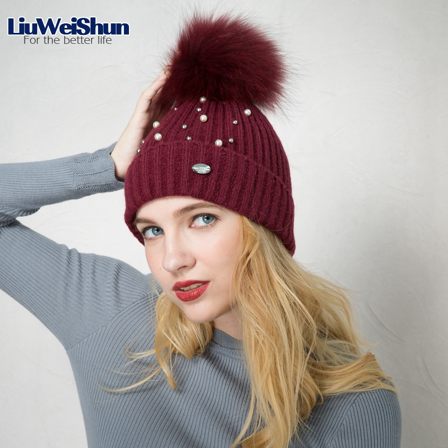 LIUWEISHUN Brand Women Winter Hats Real Mink Fur Pompom Hat Girl Knitted Winter cap Woman Warm Thick Female Skullies Beanies girl women brand winter beanie hat cap with real animal fur pompom mink fox large ball crystal floral knitted gorros skullies