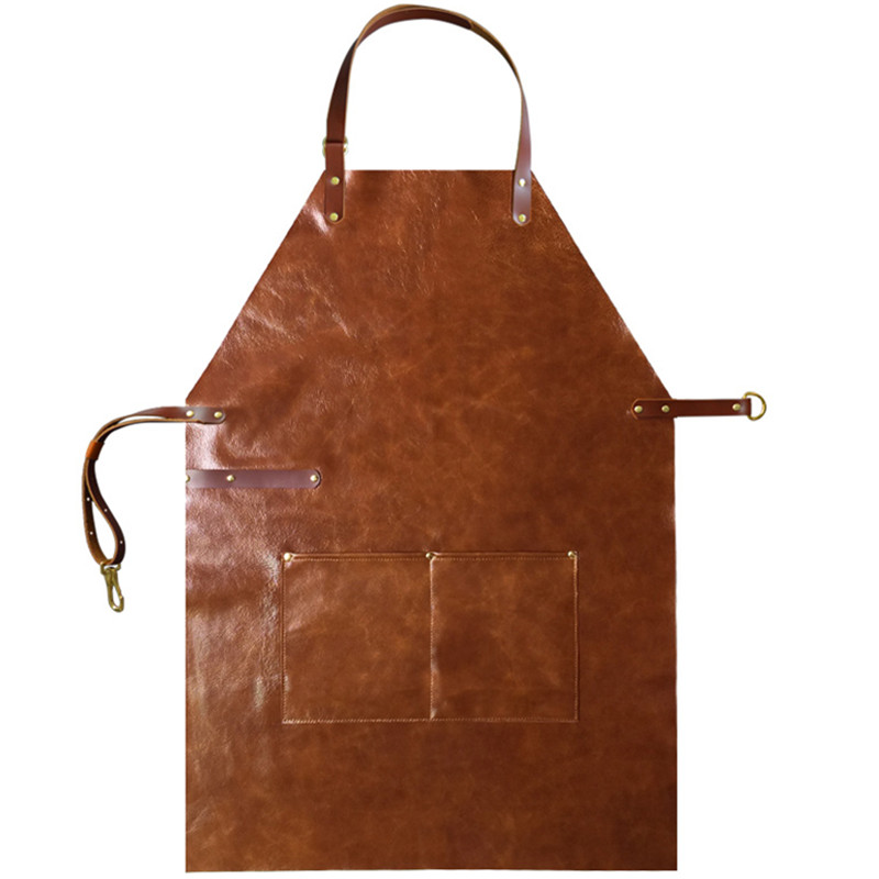 Full Grain Cow Leather Apron Barista Bartender Chef Cafe Bistro Catering Uniform Barber Salon Tattoo Shop Carpenter Work wear L3