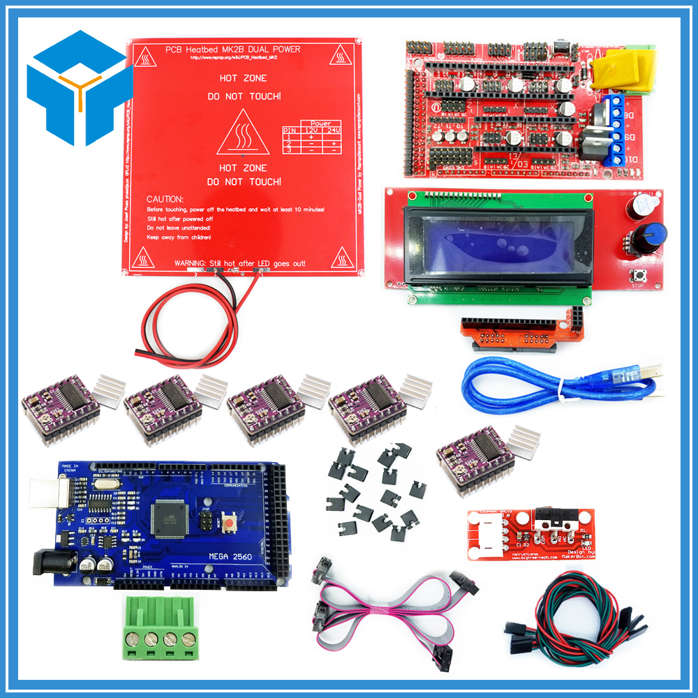 1pcs Mega 2560 R3 + 1pcs RAMPS 1.4 Controller + 5pcs DRV8825 Stepper Driver Module +1pcs LCD 2004 +1pcs MK2B for 3D Printer kit, цена и фото