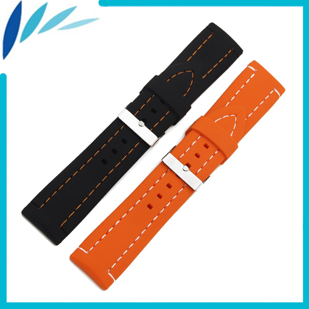 Soft Silicone Rubber Watch Band 26mm Universal Watchband Strap Wrist Loop Belt Bracelet Men Black Orange + Spring Bar + Tool 24mm nylon watchband for suunto traverse watch band zulu strap fabric wrist belt bracelet black blue brown tool spring bars