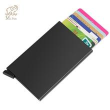 Portable Automatic Slide Aluminum ID Cash Card Holder Business RFID Blocking Wallet Credit Card Protector Case Purse Custom Logo