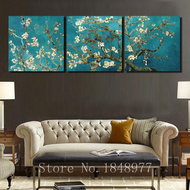 3 panel impressionistische Van Gogh Orchidee muur canvas schilderij ...